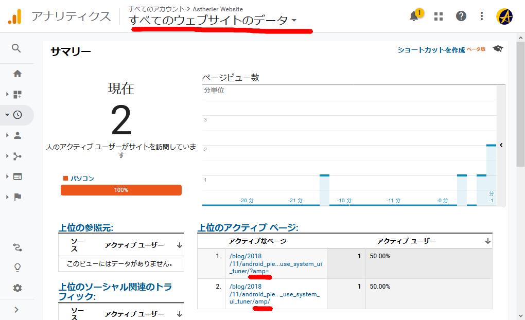 GoogleアナリティクスでAMPページと通常ページを合算集計する。