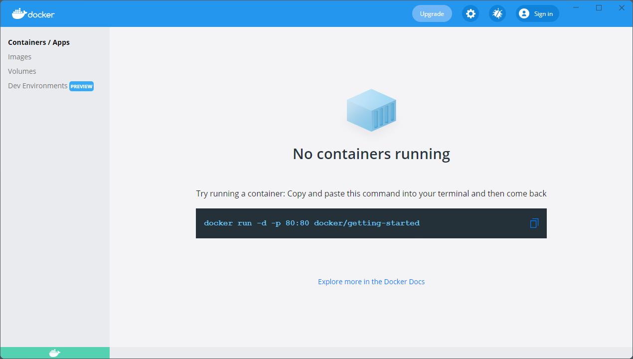 Docker Desktopのダッシュボード